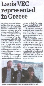 Grundtvig LLP Leinster Express Newspaper Portlaoise Ireland